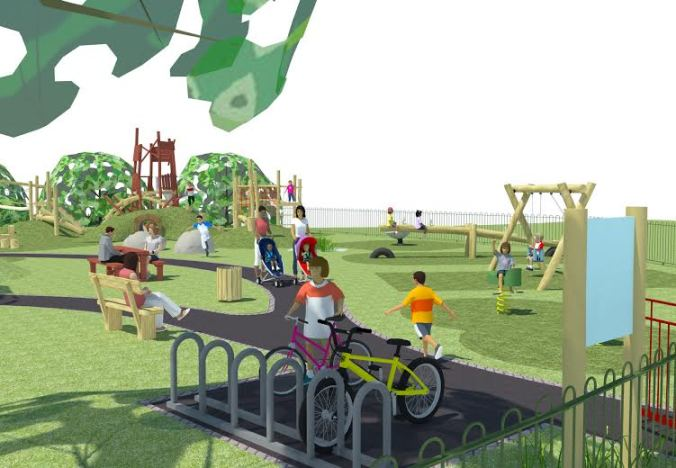 The new playground has seats and a bike rack, as well as a basket swing