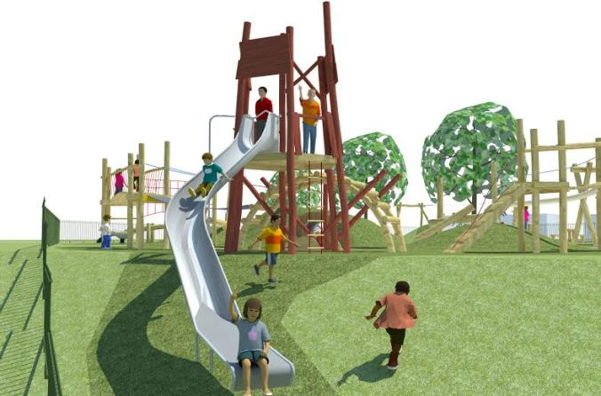 Climbing equipment includes two towers and a big slide